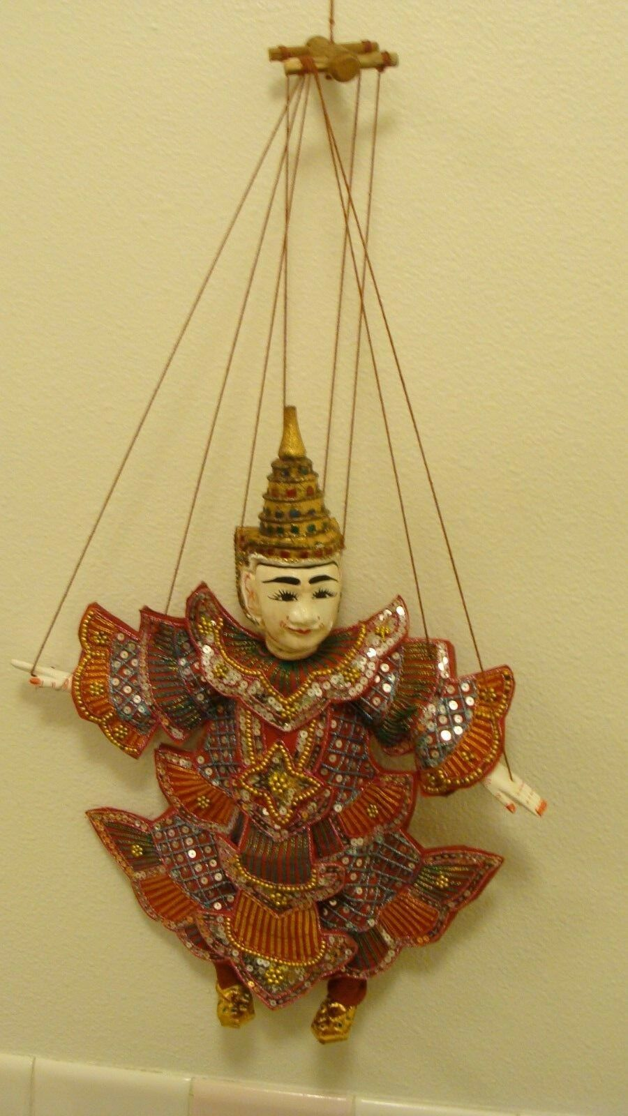 Vintage Indonesian Carved Wooden Wayang String Puppet approximately 15  x 12