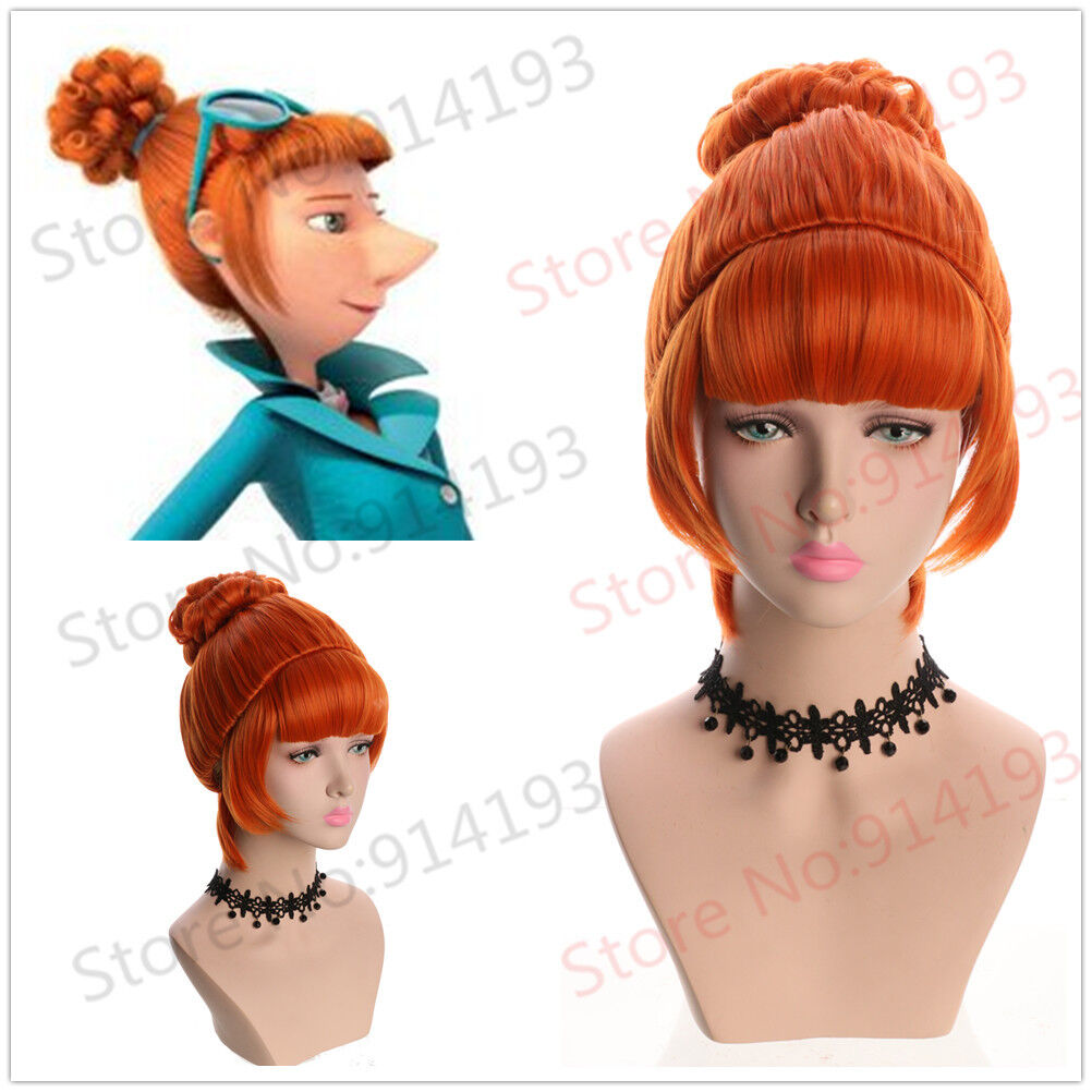 Despicable Me 2 - Anime Wavy Curly Short Orange Bun Cosplay Wig For Costume Party