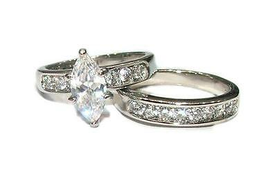 2.25 ct Marquise Cut Cubic Zirconia Solitaire Wedding Ring Set Stainless Steel