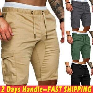 Men-039-s-Drawstring-Elastic-Waist-Shorts-Pants-Casual-Pockets-Summer-Short-Trousers