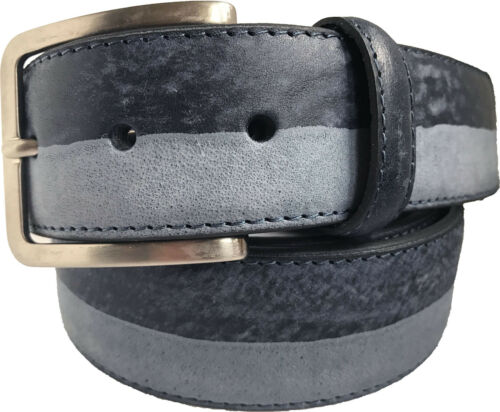 MENS ITALIAN LEATHER BELT BLACK GREY BLUE TWO TONE STONEWASHED  S M L XL XXL
