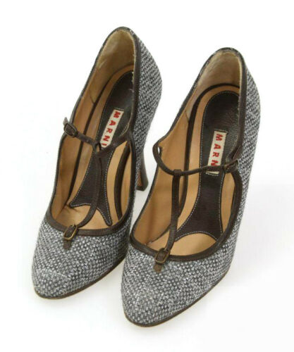 MARNI Brown Gray T-Strap Mary Jane Pumps SHOES 37/