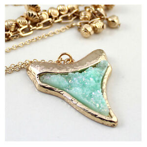 Women's Fashion Druzy Sharp Tooth Pendent Earrings Necklace