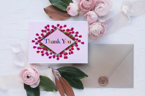 HOT SALE!! Thank You Postcard set of 10 15 or 20 Beautiful floral design
