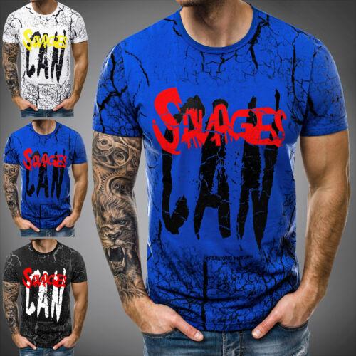 T-Shirt Kurzarm Shirt mit Motiv U-Neck Slim Fit Fitness OZONEE JS//SS689 Herren