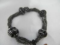 Monet Gun Metal Black Onyx Look Faceted Stone Statement Bracelet, Magnetic