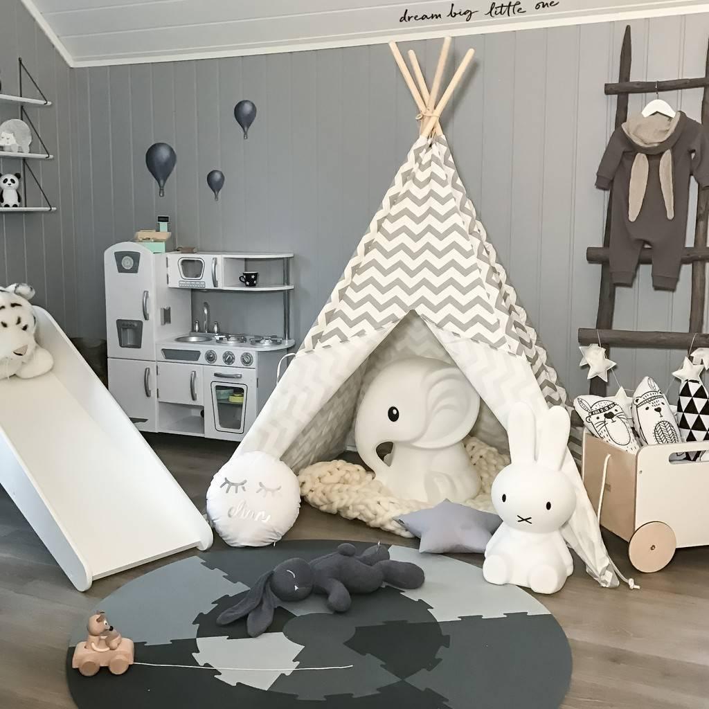 Grau Tipi Kinderzimmer Spielzelt für Kinder Kinderzelt Indianer Wigwam Teepee