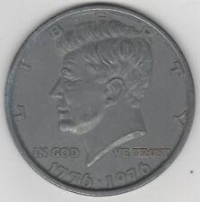"""Large 3"""" John F Kennedy Bicentennial Half Dollar Metal Paperweight JFK 1776-1976"""