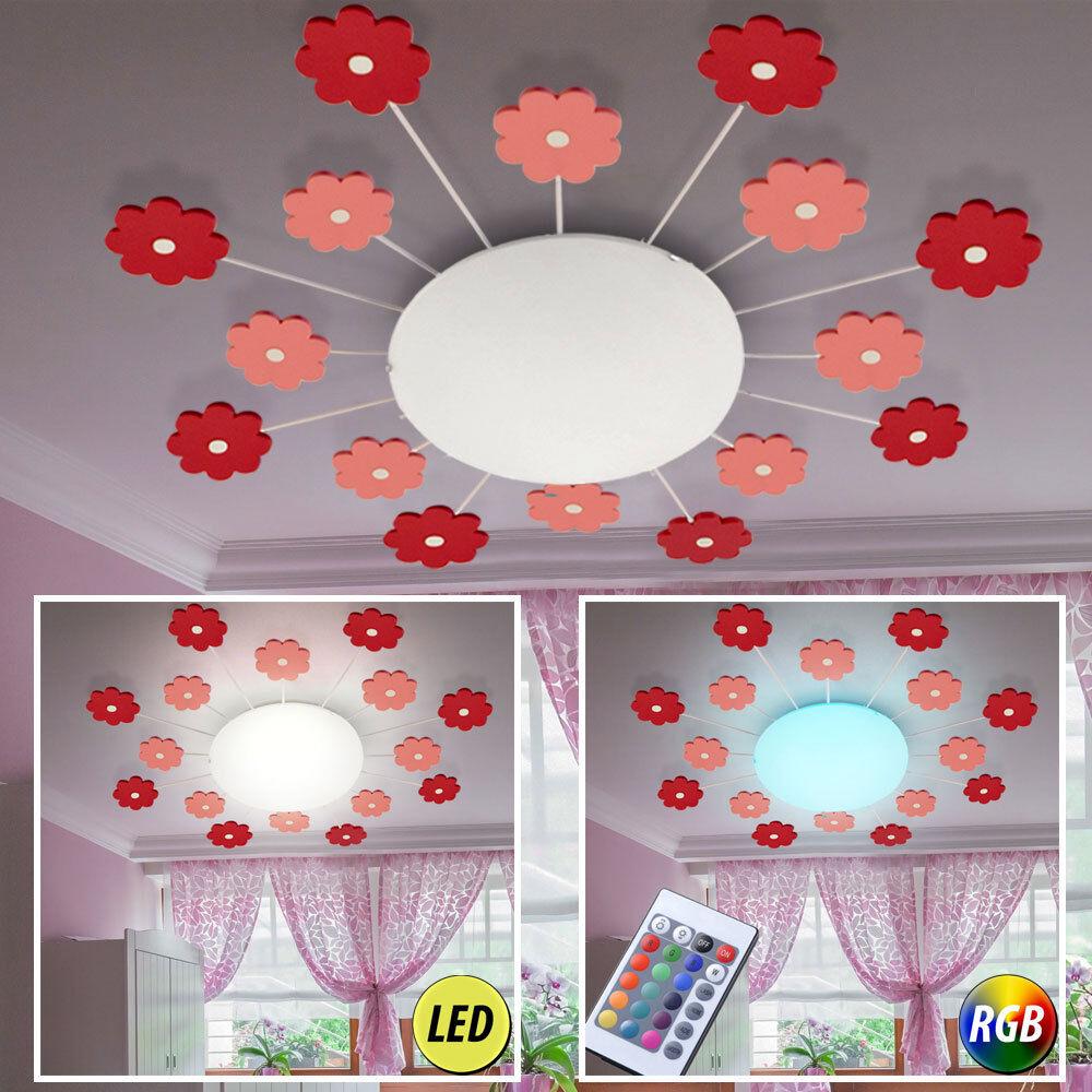 DEL Lampe de plafond RGB Télécommande Fleur Lampe Enfants Chambre à Coucher Lumière Dimmable