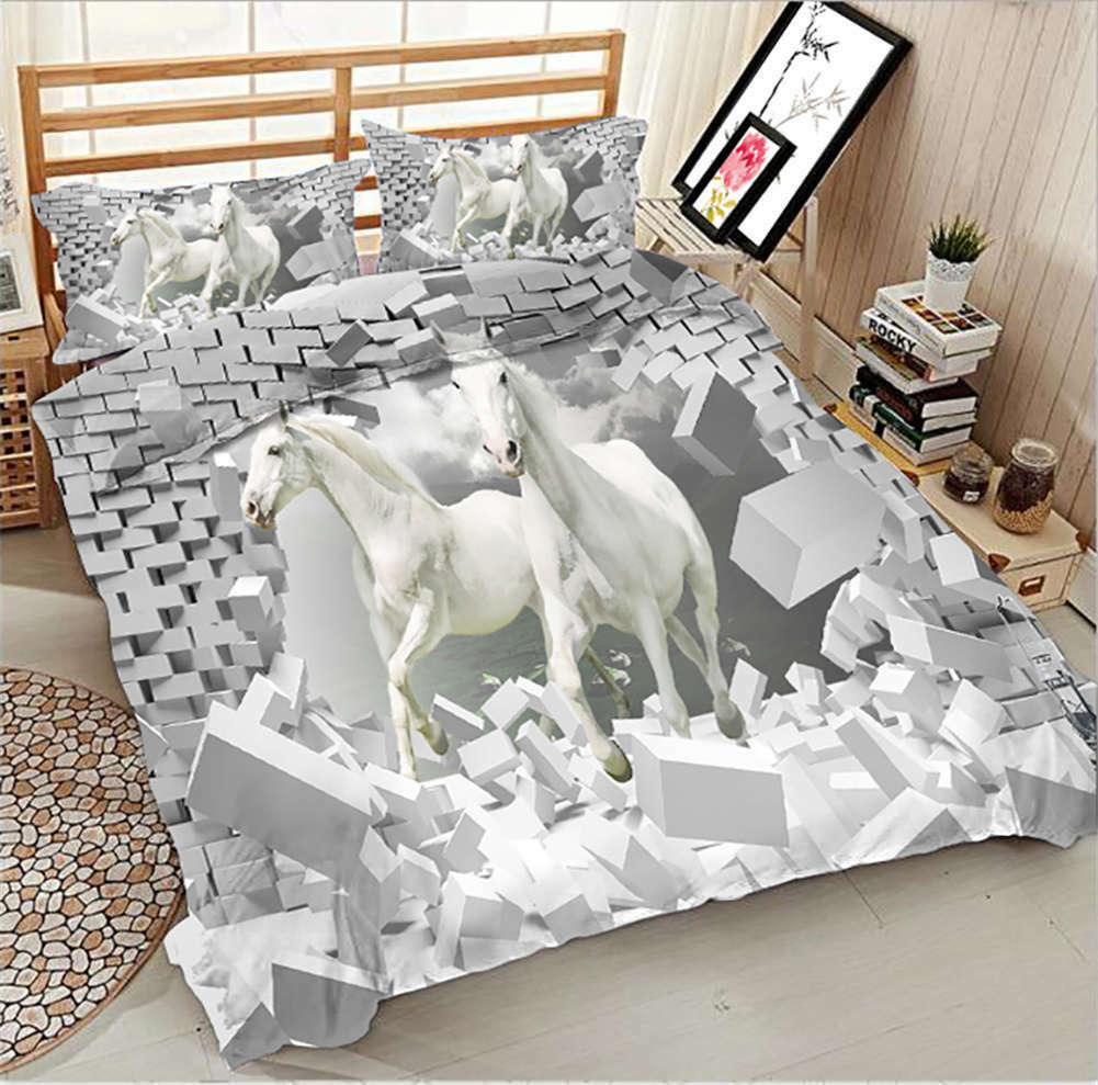 White Dragon Horse 3D Printing Duvet Quilt Doona Covers Pillow Case Bedding Sets