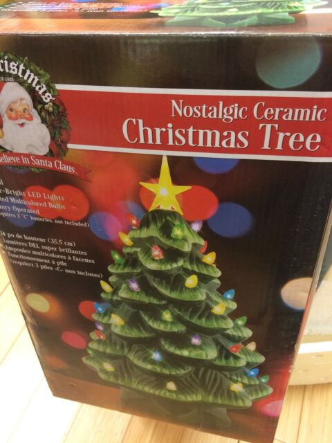 Mr Christmas 14 In Light Up Nostalgic Ceramic Christmas Tree In Green