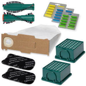 10 Staubsaugerbeutel 2 Filter Ersatzbürsten passend für Vorwerk Kobold 130 131
