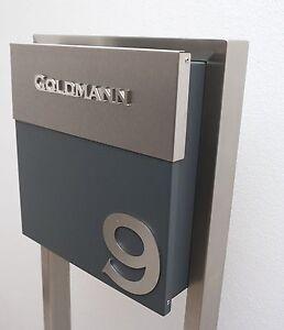 briefkasten standbriefkasten ral 7016 edelstahl inkl beschriftung hausnummer ebay. Black Bedroom Furniture Sets. Home Design Ideas