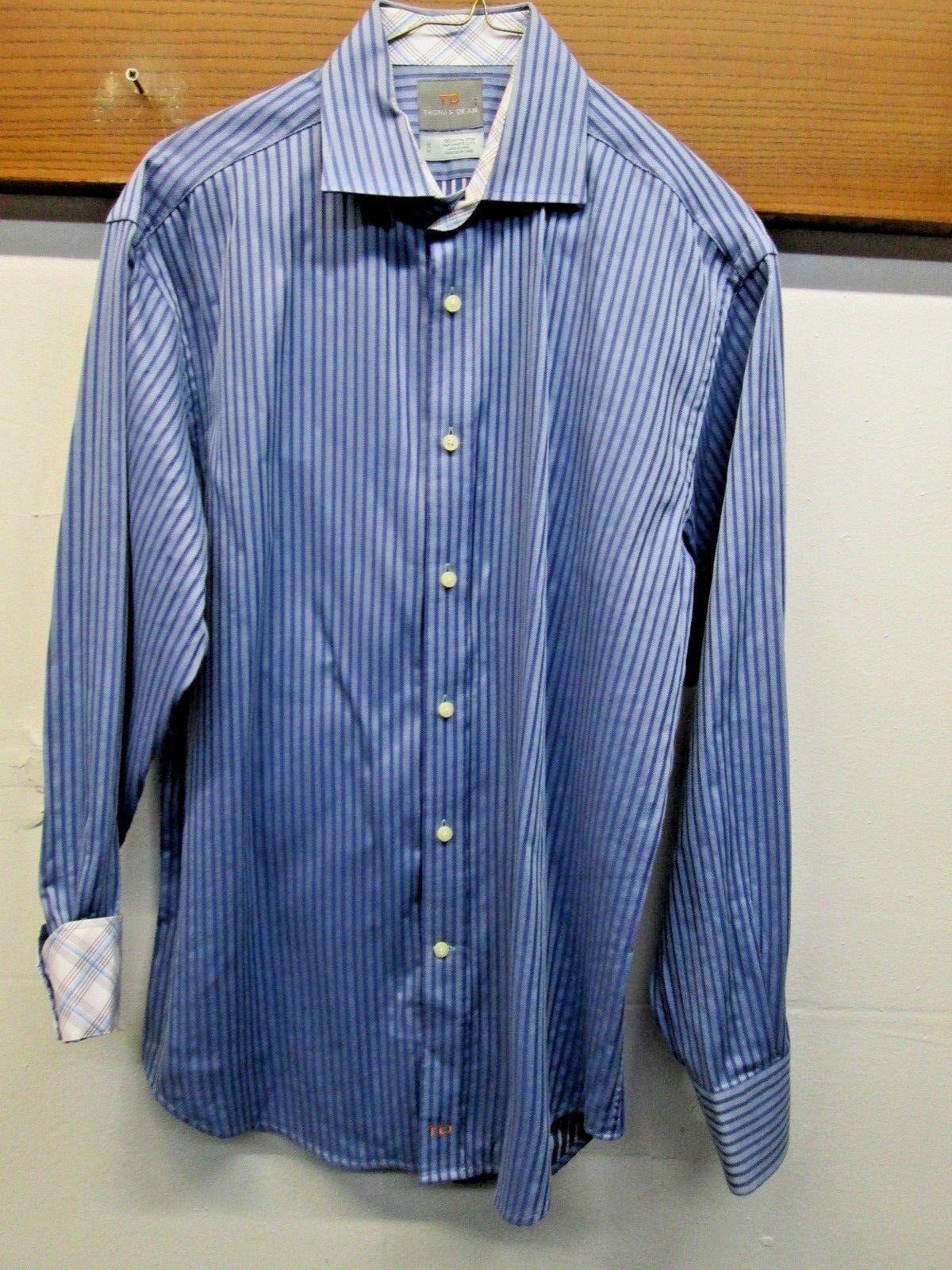 EUC  Thomas Dean Sport Shirt Casual Club flip cuff bluee striped spread collar XL