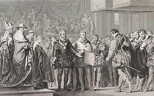 Signature traité de paix Vervins 1598 Henri IV Philippe II Espagne France c 1840