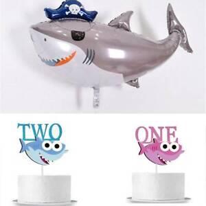 Foil-Balloonmarin-Requin-Theme-Gateau-Inserez-Carte-Decor-Fete-D-039-anniversaire