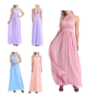 damen kleider elegant hochzeit sommer kleid lang chiffon partykleid abendkleider  ebay
