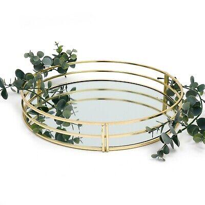 30cm Gold Metal Vintage Mirror Glass, 30cm Round Mirror Tray