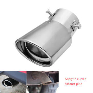 NEW-Universal-Vehicles-Silver-Stainless-Steel-Chrome-Exhaust-Tail-Muffler-Tip