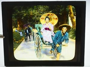 Jinrikisha-Japon-Main-Colore-Teinte-Magic-Lantern-Musee-Glisse