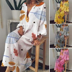 ZANZEA-Womens-Floral-V-Neck-Long-Sleeve-Beach-Dress-Ladies-Oversize-Loose-Kaftan