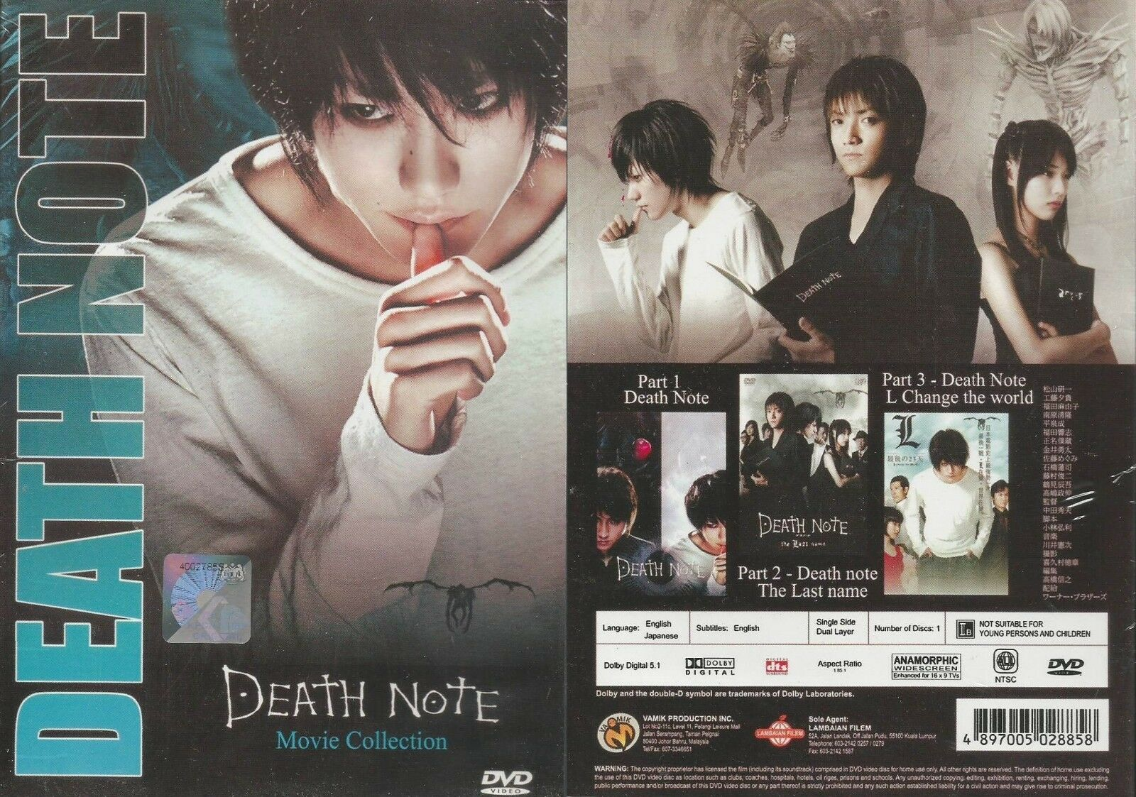 Details About Japanese Movie English Dubbed Death Note Live Action The Movie 1 3 With Gift