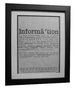 DAVE-EDMUNDS-Information-POSTER-AD-RARE-ORIGINAL-1983-FRAMED-EXPRESS-GLOBAL-SHIP