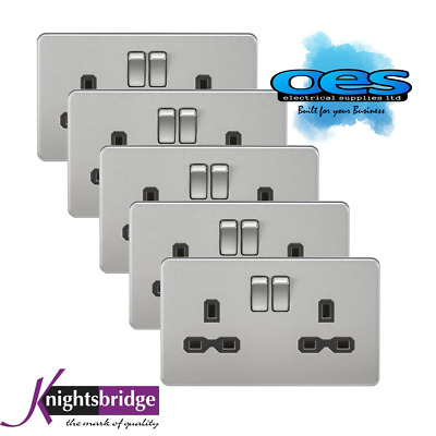 Knightsbridge Screwless Flatplate 2 Gang 13A Switch Socket Polished Chrome 5PACK
