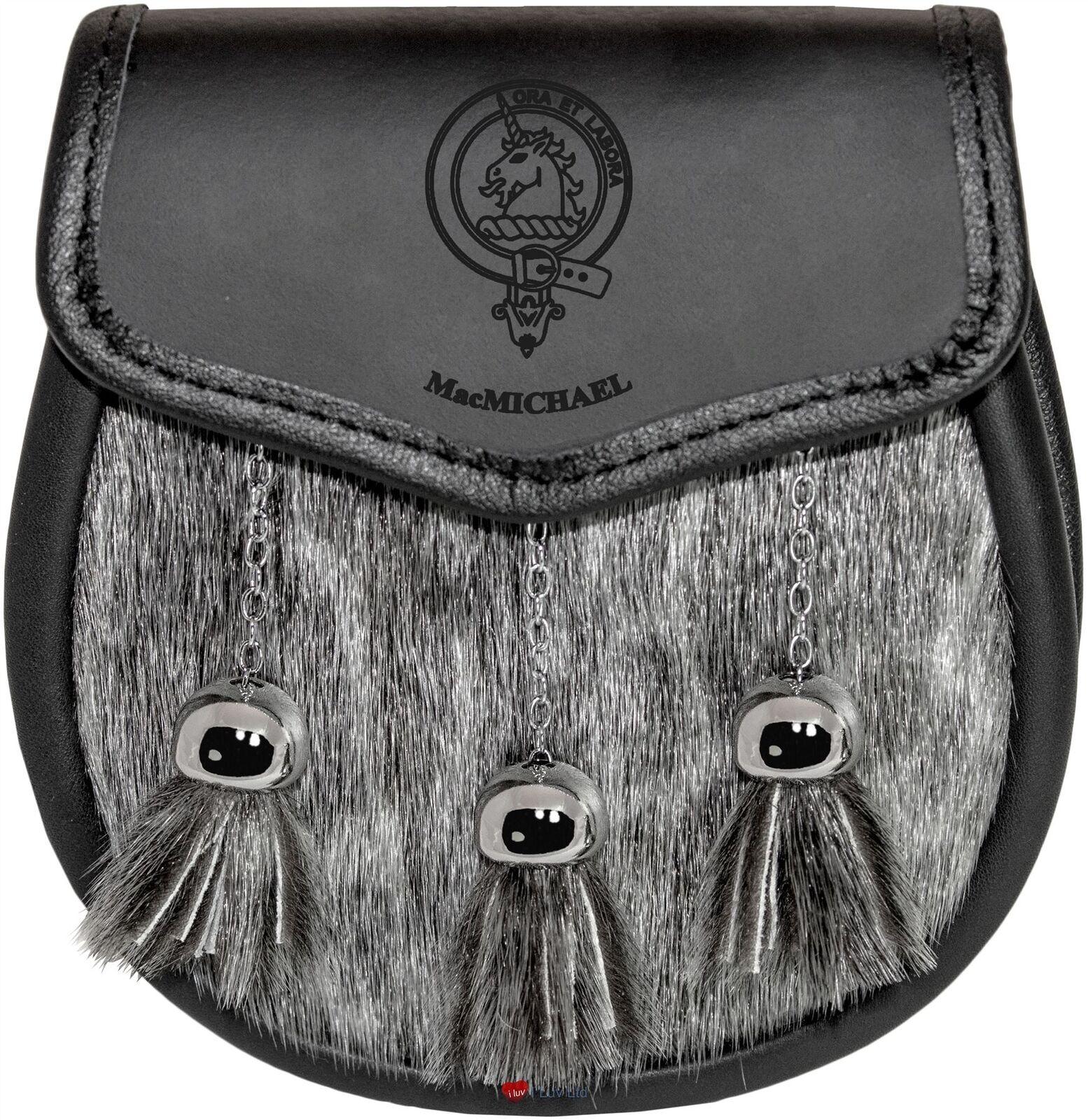 MacMichael Semi Sporran Fur Plain Leather Flap Scottish Clan Crest