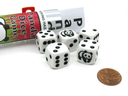 Panda Dice Game with 5 Dice Travel Tube and Gaming Instructions