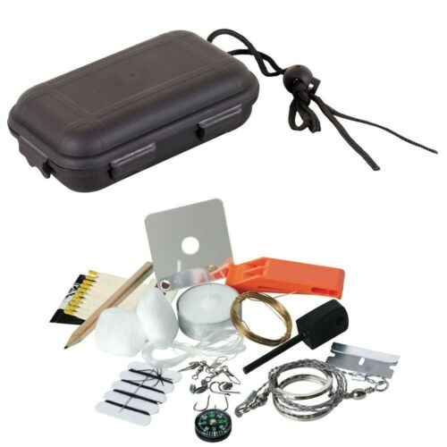 SURVIVAL KIT in WATERPROOF BOX FIRE STARTER CANDLE WHISTLE COMPASS ETC ETC
