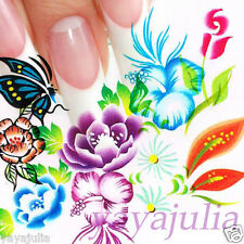 11 Sets Flower Nail Art Decal Water Slide Transfer Temporary Tattoo Stickers W47