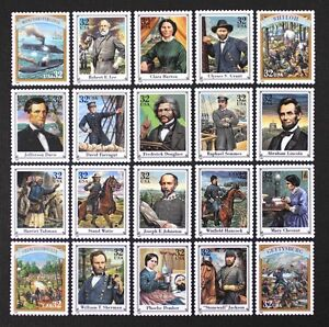 US-Year-1995-2975-Civil-War-Complete-set-of-20-Stamps-in-Singles-Mint-NH