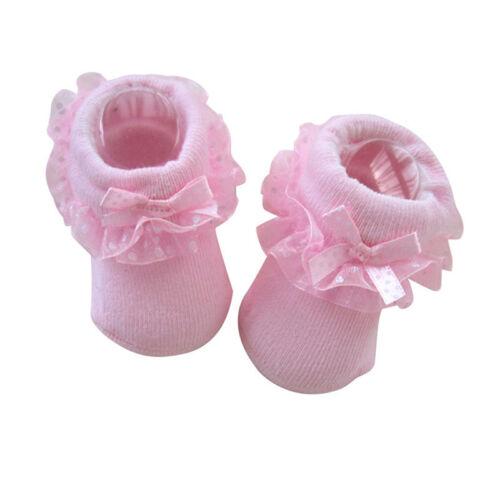 Cotton Christmas Warmers Newborn Baby Kids Non-slip Lace Socks Suitable 0-6M FO