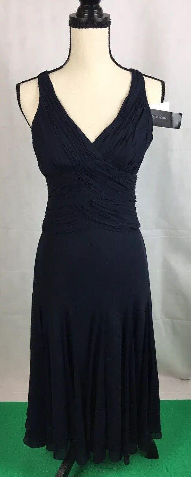 NWT Jones New York Navy Halter Top Evening Prom Dress Sz 4 Full Pleated Skirt