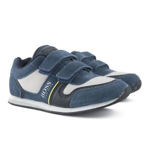 BRAND NEW HUGO BOSS JUNIORS KIDS BOYS BLUE STRAPPED TRAINERS J29137 ... f33c5e4d3a09