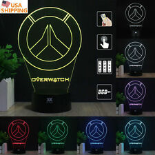 Overwatch Origins 3D Acrylic LED 7 Color Night Light Touch Table Art Lamp Gift