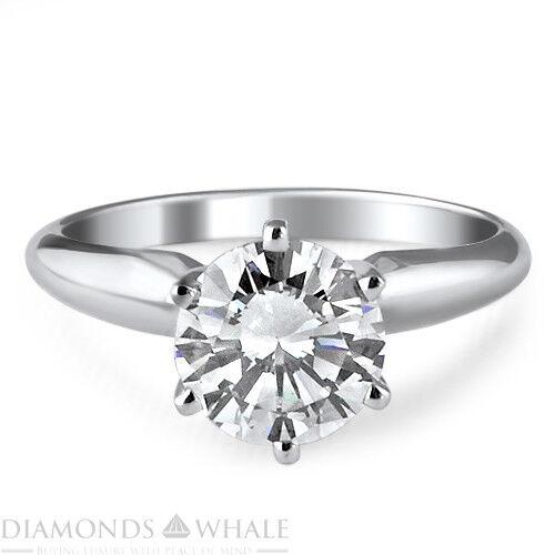 0.5 CT Enhanced Diamond Ring VS2 D Round Cut 18K White gold Engagement Ring