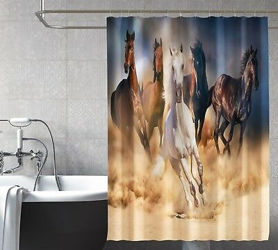 Efficient 3d Land Run Horses 9 Shower Curtain Waterproof Fiber Bathroom Windows Toilet Relieving Heat And Thirst. Window Treatments & Hardware Shower Curtains