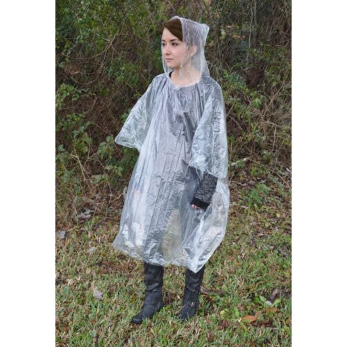 Ultimate Survival Technologies Pocket Poncho Adult Clear w//Gray Pouch 6-Pack