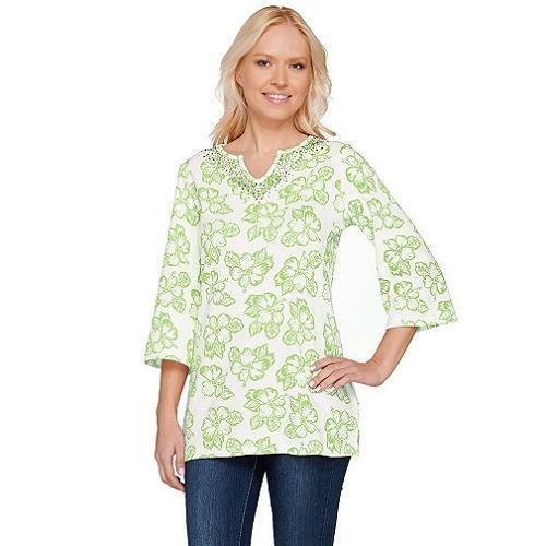 Quacker Factory Size 1X Lime Punch Island Floral 3/4 Sleeve Tunic