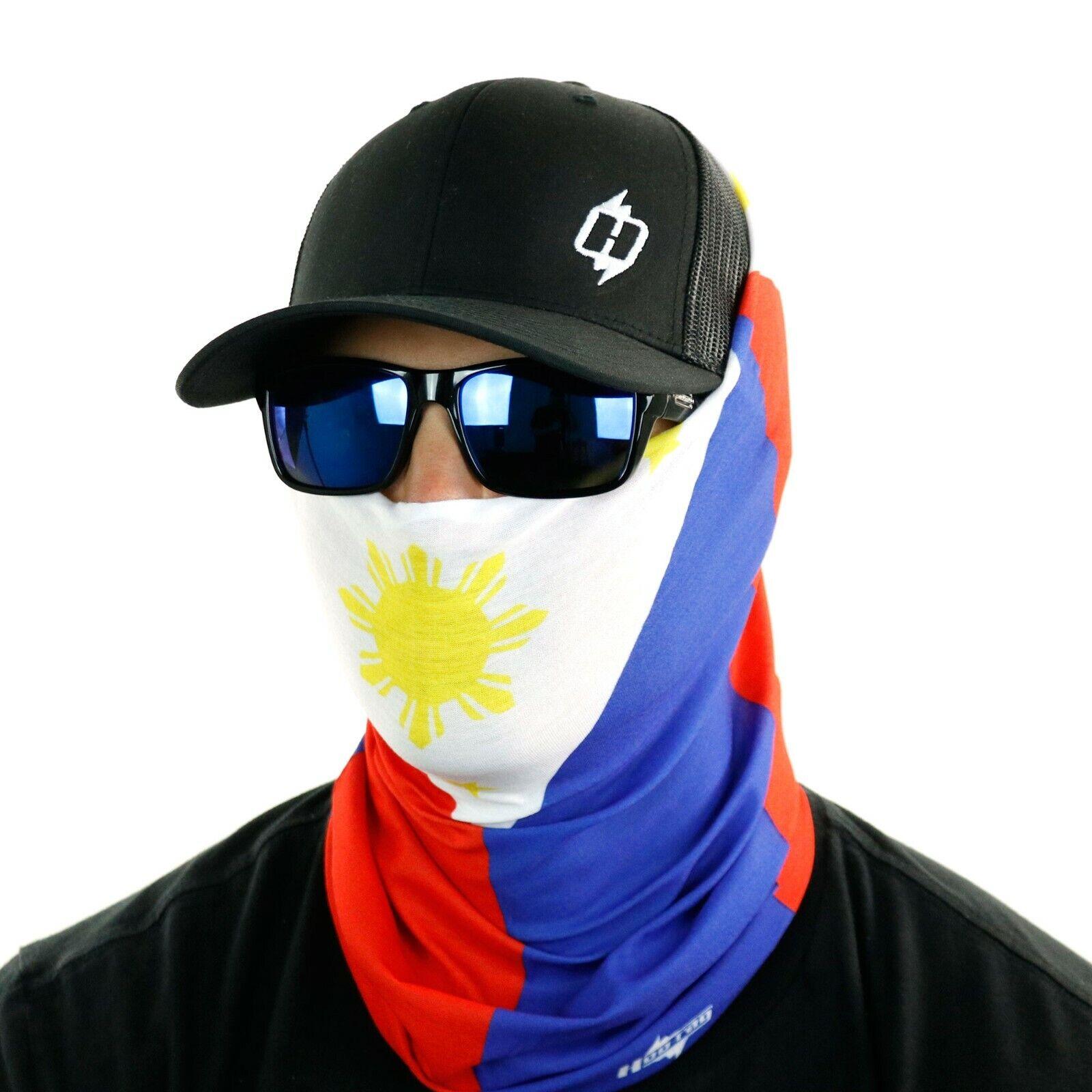 Philippines Flag Skull Unisex Fleece Neck Warmer Gaiter Microfiber Face Mask,Neck Gaiter,Magic Scarf for Dust Outdoors