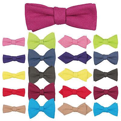 JA Premium Hopsack Linen Solid Plain Classic Thistle Self Tie Men/'s Bow Tie