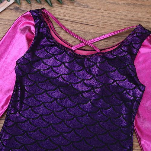 Mädchen Langarm Ballettanzug Glänzend Fischschuppen Body Fisch Schuppen Kostüm