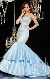 NWT-Panoply-44273-Sky-blue-white-mermaid-long-formal-prom-gown-Size-6-satin