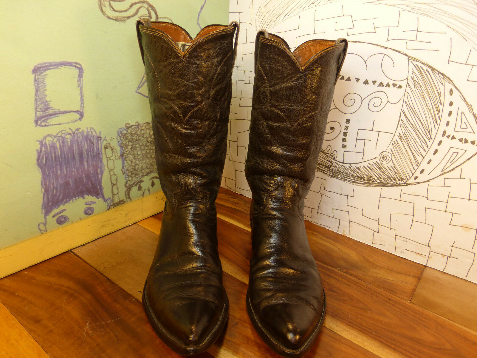 Justin Brown Leather Cowboy Boots Men's 11.5A