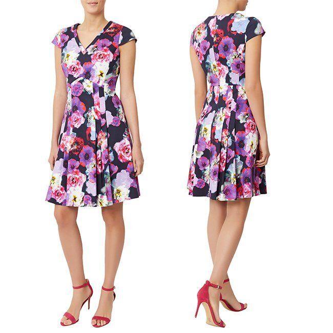 Fenn Wright Mason RUBENS FIT & FLARE DRESS. MULTI  FLORAL.   38  BNWT
