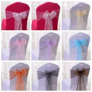 20x Tulle Chair Sashes Tie Bow Ribbon Wedding Banquet Party Venue Decor Romantic Ebay