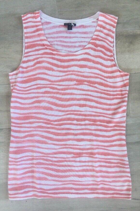 LAFAYETTE 148 Rosa Weiß Cotton Blend Striped Sleeveless Tank Top Sz Small