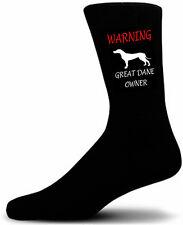Black Warning  Great Dane Owner Socks - I love my Dog Novelty Socks
